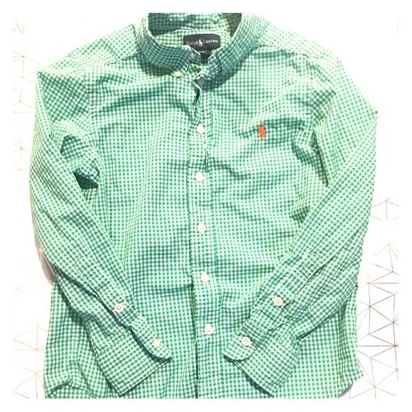 3bf4d80dd Ralph Lauren Boys Green and White Oxford Shirt. M 5b3585ddbb7615e0369cafe4